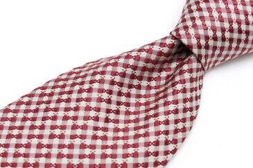 ケンゾー KENZO チェック柄 レッド 赤 シルク 日本製 ブランド ネクタイ 送料無料 【中古】【良品】