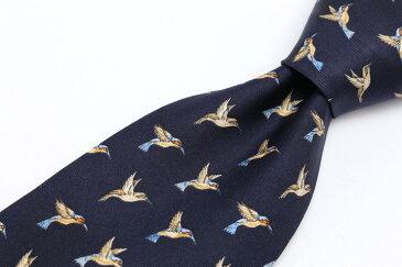 ティファニー Tiffany & Co 鳥モチーフ 動物柄 ネイビー 紺 シルク イタリア製 ブランド ネクタイ 送料無料 【中古】