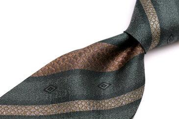 ケンゾー KENZO ストライプ柄 グリーン 緑 シルク 日本製 ブランド ネクタイ 送料無料 【中古】【良品】