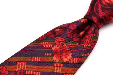 ケンゾー KENZO ストライプ柄 花柄 レッド 赤 シルク イタリア製 ブランド ネクタイ 送料無料 【中古】