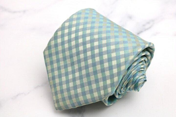 77de3f269c47 ヒューゴボス HUGO BOSS チェック柄 ブルー 青 シルク イタリア製 ブランド ネクタイ 送料無料 【中古