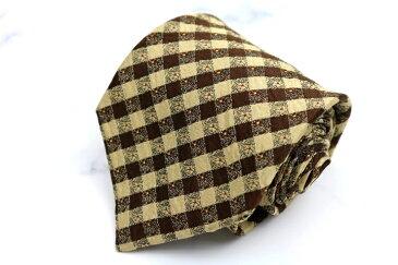 ケンゾー KENZO チェック柄 ブラウン シルク 日本製 ブランド ネクタイ 送料無料 【中古】