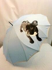 ポイント2倍 傘 レディース 雨傘 長傘 婦人 フレンチブルドッグ柄 1枚張り ジャンプ長雨傘 ファ...