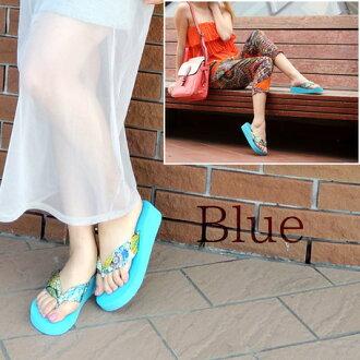 唯一的佩斯利翻轉的涼鞋女裝女裝鞋楔觸發器佩斯利圖案涼鞋輕便鞋 02P28Sep16