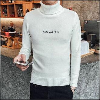 限期供應編織物人頂端毛衣頂端高領長袖子套衫簡單彩色休閒的男性時裝高領肋條編織物大的尺寸高領 ※fu
