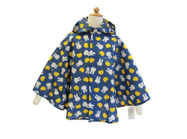 レインコート キッズ 雨具 レインポンチョ ミッフィー 総柄プリント レイン ポンチョ 100 ブルー 子供服 洋品