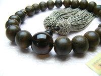 男性用数珠素挽シャム柿22玉茶水晶仕立正絹頭付房
