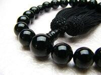 男性用数珠黒オニキス22玉共仕立正絹頭付房