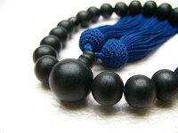男性用数珠素挽黒檀22玉青虎目石2天正絹頭付房
