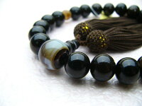 男性用数珠縞黒檀22玉縞メノウ仕立正絹頭付房