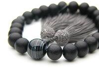 男性用数珠素挽黒檀22玉縞メノウ仕立正絹頭付房