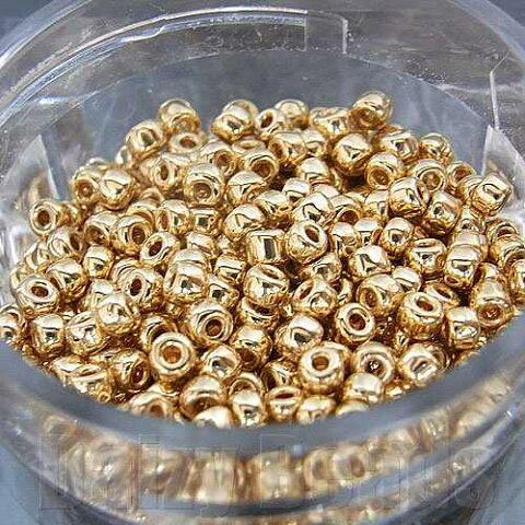 【8パックセット】【丸小ビーズ・ゴールド(24K)】 高品質日本製丸小ビーズ 約1.9mm 約650ヶ(約10g)