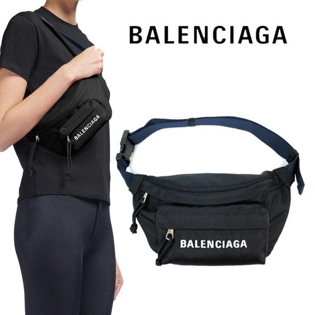 男女兼用バッグ, ボディバッグ・ウエストポーチ BALENCIAGA S NAYLON WHEEL BELT BAG S 109 BLACK NAVY BLUE569978 HPG1X