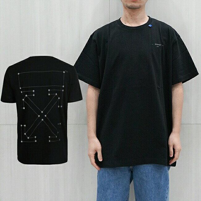 トップス, Tシャツ・カットソー OFF-WHITE T T BACKBONE SS OVER TEEBLACK SILVER) OMAA038E191850011091