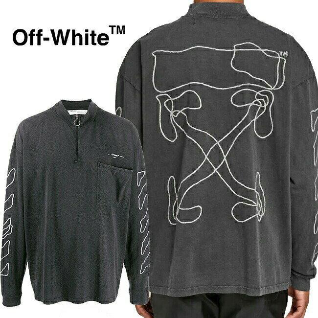 トップス, Tシャツ・カットソー OFF-WHITE T T ABSTRACT ARROWS ZIP MOCK NECK 1001BLACK) OMAB031F191850111001