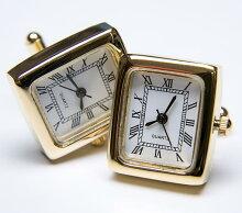 ★カフスボタンONYX-ARTLONDONCLM_06RECTANGULARBLACKWATCHCufflinks角型ブラックの時計これマジで動きます一年間保証付き・・♬~