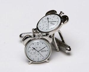 ★カフスボタン ONYX-ART LONDON CK793 Bell Clock Cuffkinks アンティークな目覚まし時計10時10分24秒