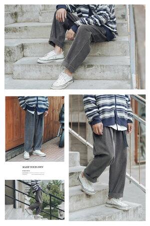 メンズワイドパンツ秋冬コーデュロイ韓国ファッションボトムスおしゃれ9分丈綿100%コットン100%ストリートオルチャンファッション韓国服防寒デイリーコーデジェンダーレスkorea