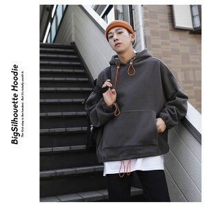 韓国ファッションメンズパーカー秋冬ビックシルエットゆったり長袖スウェットプルオーバーパーカーオルチャンファッション韓国服