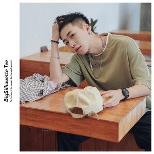 韓国ファッションtシャツメンズビッシルエット半袖無地ドロップショルダーオルチャンファッション韓国服デイリーコーデジェンダーレスkorea