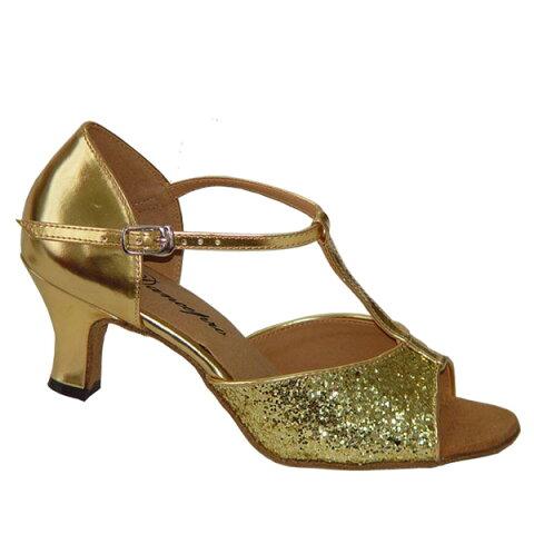 ダンスシューズ・社交ダンスシューズ・レディース【セミオーダー】女性ラテンシューズ・ゴールド・ラメ160904セミオーダー品ですのであなたにぴったりの1足がつくれますよ♪