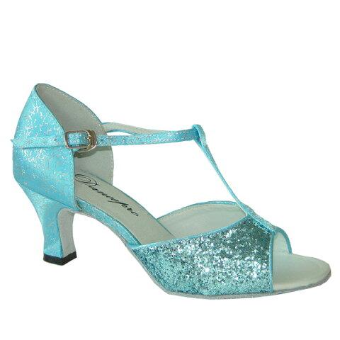 ダンスシューズ・社交ダンスシューズ・レディース【セミオーダー】女性ラテンシューズ・ブルー・ラメ160923セミオーダー品ですのであなたにぴったりの1足がつくれますよ♪