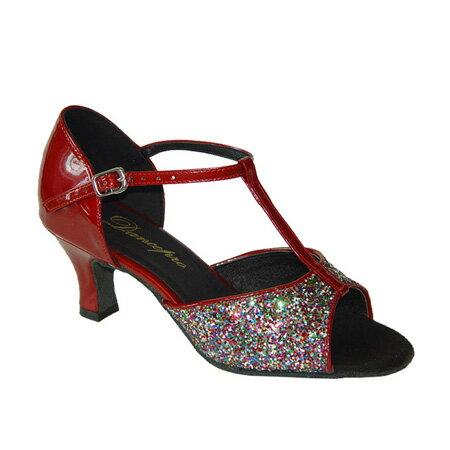 ダンスシューズ・社交ダンスシューズ・レディース【セミオーダー】女性ラテンシューズ・赤レッド・ラメ160934セミオーダー品ですのであなたにぴったりの1足がつくれますよ♪