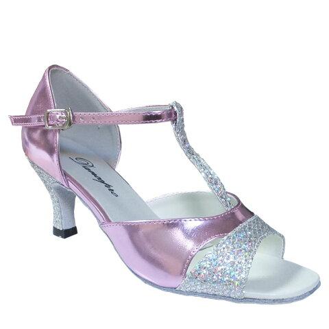 ダンスシューズ・社交ダンスシューズ・レディース【セミオーダー】女性ラテンシューズ・ピンク・ラメ161706セミオーダー品ですのであなたにぴったりの1足がつくれますよ♪