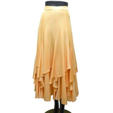【新入荷】ロングスカート(M)N70 リンド ミルキーオレンジ 社交ダンス レッスン パーティー に おすすめ の 光沢 ニット しなやかストレッチ