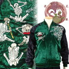 骸骨の宴刺繍スカジャン花旅楽団(はなたびがくだん)SSJ-525和柄【送料無料】