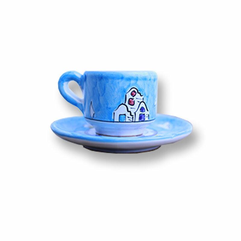 カップ&ソーサー 水色/街 Bエスプレッソにもコーヒーにも!デミサイズの可愛いセットでお客様をおもてなし♪