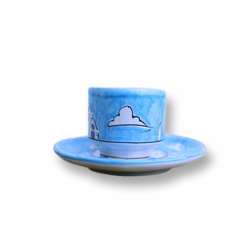 カップ&ソーサー 水色/街 Aエスプレッソにもコーヒーにも!デミサイズの可愛いセットでお客様をおもてなし♪