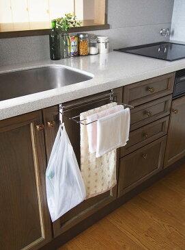 キッチンキレイにシンク扉用タオルハンガー★手拭きタオル・食器用ふきん・台ふき・袋を一気に掛けることができる優れものです♪★コンパクトに折りたたんで使用することもでき洗面所でも活躍します♪