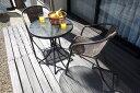 籐風チェアとガラステーブルのガーデン3点セット     ガーデンセット ガーデニング テーブルセット 椅子 テーブル ラタン調 おしゃれ 編み込み 屋外 ベランダ バルコニー くつろぎ リラックス ガーデンファニチャー ガーデンセット ラウンドテーブル b12