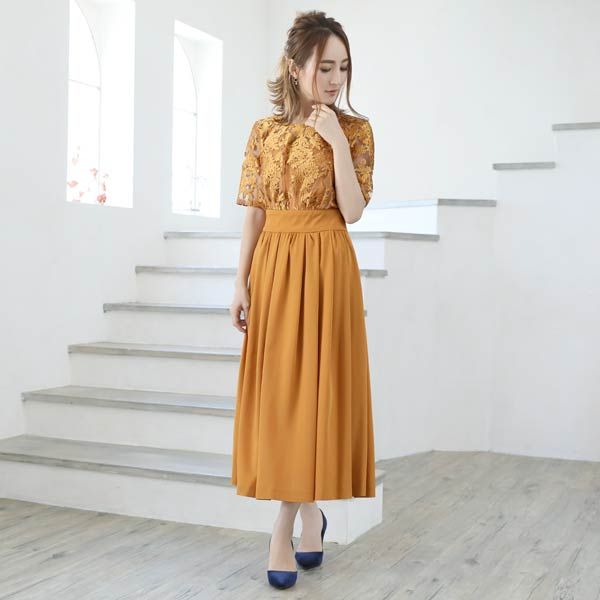 darial(ダリアル)『エンブロイダリーレースレイヤードミモレ丈ワンピースドレス』