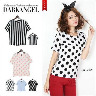 I wear the basic pattern in only one-style! Dot / stripe short sleeves T-shirt / Lady's short sleeves T-shirt cut-and-sew dot stripe waterdrop tops DarkAngel/ dark angel