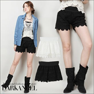 Ranking 2nd place! Voluptuous feminine classical race ♪ leg beauty styles with high-waisted! Floral lace shorts ☆ culotte pants flare Chopin ladies early % 52% off ■ media ■-if cash excluded