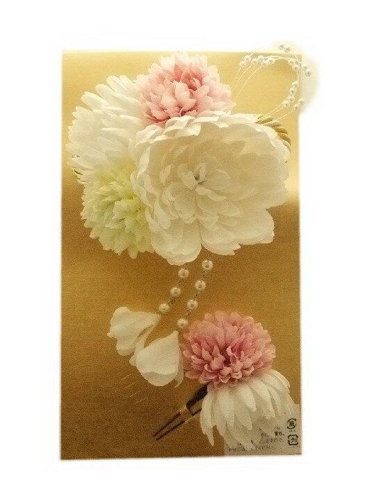 【レンタル】【片道送料無料】髪飾りレンタル 成人式 卒業式 花 白 ドレス 和風 2点セット ac216r