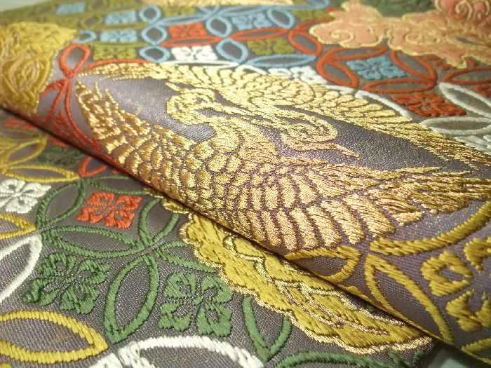逸品!正絹西陣袋帯◆「七宝地雲鶴文」唐織袋帯◆hu217