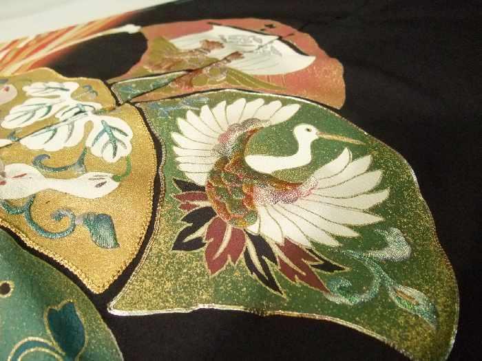 留袖 黒留袖 お仕立て付き 上品な扇面刺繍吉祥柄 京友禅 比翼仕立て to163s