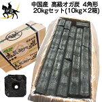 【送料無料】一級品Aグレードオガ炭中国産高級オガ炭4角形20kgセット(10kg×2箱)オガ備長炭