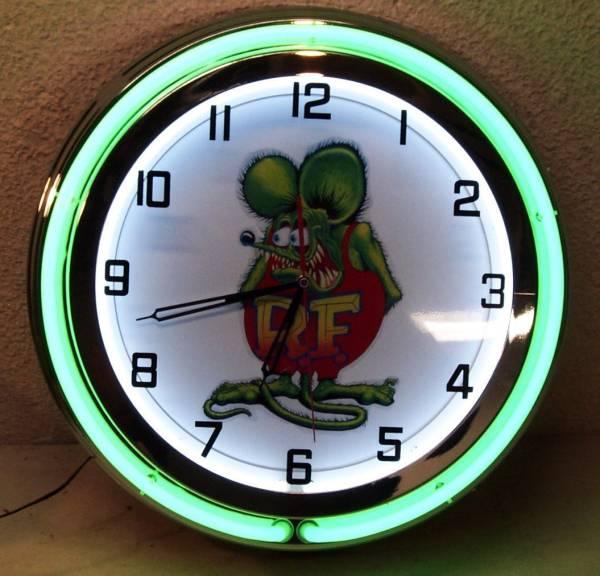 ラットフィンク18インチ ネオン付き掛け時計[アメリカ直輸入][プレゼントに大人気][送料無料][アメ車][逆輸入車][デイブレイク]