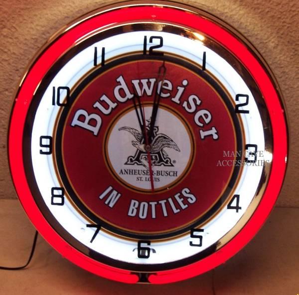 バドワイザー18インチ ネオン付き掛け時計[アメリカ直輸入][プレゼントに大人気][送料無料][アメ車][逆輸入車][デイブレイク]