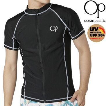 【メール便対応】オーピー メンズ ラッシュガード 半袖 ジップアップ シンプル 紫外線対策 日焼け防止 黒 OP 518473