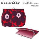 marimekkoマリメッコ ウニッコがま口ポーチ レッド×プラム×ライトピンク 小銭入れ Mini Unikko purse 046702
