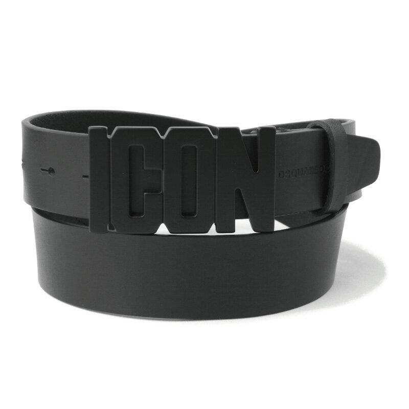 DSQUARED2 ディースクエアード メンズ ICONベルト BLACK ブラック ICONバックル 33mm レザー BEM0099 12900001 M436 プレゼントにも画像