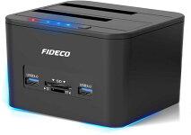 FIDECOクローンHDDスタンドblack(高速USB3.05GbpsSATA3.0対応)ストーレジ・オフラインクローン・USBハブ・microSDポート(TF&SD)4in1機能初心者簡単高伝送速度シンプルデザイン最大容量2x12TB対応2.5/3.5インチHDD/SSDSATAI/II/III対応送料無料