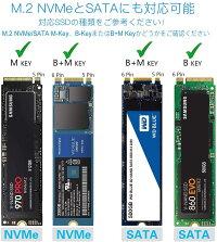 FIDECO M.2 NVMe PCIe & SATA SSDケース USB3.1 Gen2(B-Key, M-Key or B+M Key対応)2230 2242 2260 2280対応 変換アダプタ ポータブル ハードドライブ エンクロージャ UASPサポート USB C to C + USB A to A ケーブル付き 冷却ファン付き 簡単着脱 送料無料