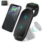 ワイヤレス充電器 最新版 QC3.0アダプター付属 TYPE-C ケープル 15W 急速充電 3in1 多機能充電スタンド  Apple watchスタンド Apple watch充電器 ワイヤレスチャージャー iPhone 11/11 Pro/11Pro Max/XS/XS Max/XR/X /8/8 Plus、GalaxyS10/S10+/S9/S9+/Note 10 などにも対応