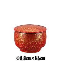 太鼓飯器(小)朱金彩朱赤&ゴールド漆塗り漆器風仕上げ蓋付き飯碗吸い物椀陶器磁器の食器おしゃれな業務用和食器お皿小皿深皿